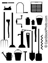 herramientas, y, aparatos, farmer.