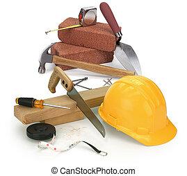 herramientas, y, construcción, materiales