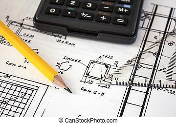 herramientas, y, mecanismos, detalle, en, el, plano de...