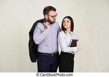 herre och kvinna, affärsverksamhet partner
