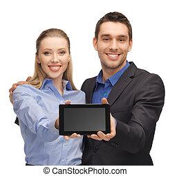 herre och kvinna, med, skrivblock persondator