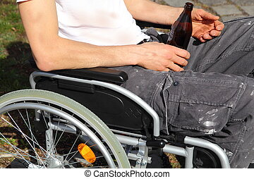 herreløs person, ind, en, wheelchair