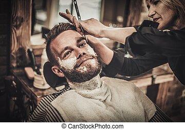 herrenfriseur, rasieren, bart, laden, klient, während