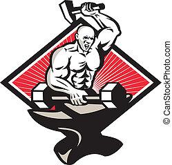 herrero, notable, martillo, barra con pesas