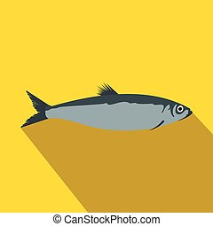 Herring icon in flat style with long shadow. Sea and ocean symbol