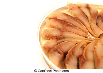 herring in oil on a white background