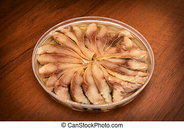 herring on a wooden background