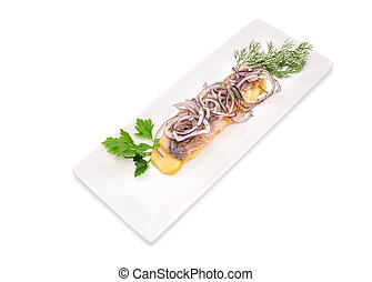Herring, onions, potatoes with herbs
