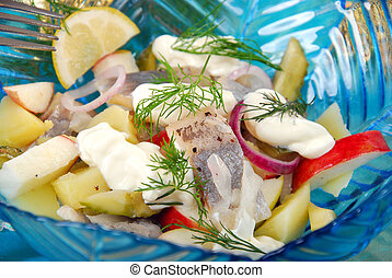 herring salad with apple , potato and sour cream - herring...
