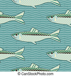 herring seamless pattern. Vector fish background