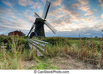 Herringfleet Mill a smock windmill on the Suffolk side of...
