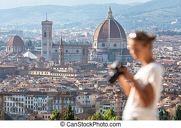 herrlich, florenz, italien, mit, fokus, weibliche , fotograf, in, der, vordergrund