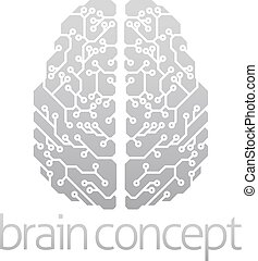 hersenen, abstract, elektronisch