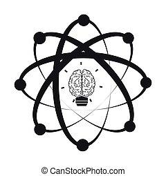 hersenen, atoom, pictogram