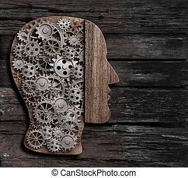 hersenen, functie, psychologie, geheugen, of, geestelijk, activiteit, concept, 3d, illustratie