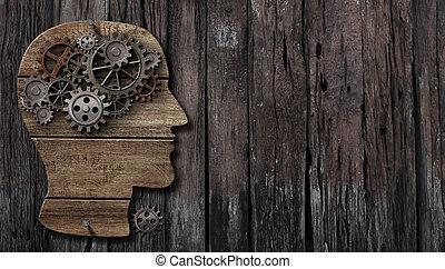 hersenen, functie, psychologie, geheugen, of, geestelijk, activiteit, concept