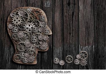hersenen, functie, psychologie, geheugen, of, geestelijk, activiteit, ontvangenis