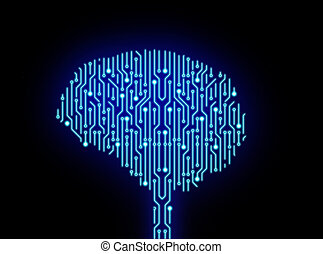 hersenen, illustratie, achtergrond., vorm, plank, circuit, high-tech, black., technologie, 3d