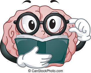 hersenen, lezende , mascotte
