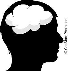 hersenen, mannelijke , silhouette