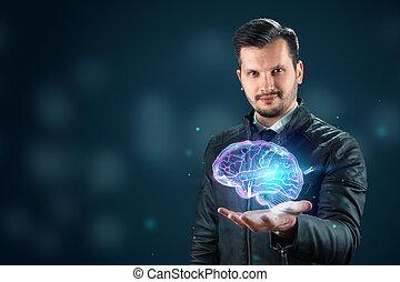 hersenen, neuraal, hologram., digitale , interface, training., gebruik, vertoningen, netten, zakelijk, intelligentie, kunstmatig, software