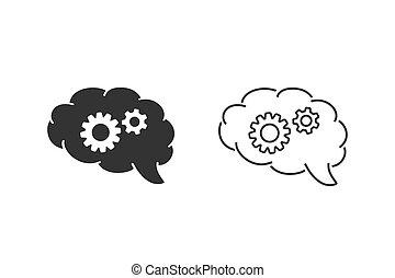 hersenen, pictogram, tandwiel, concept., ingeving, illustratie, lijn, vector