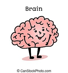 hersenen, schattig, karakter, menselijk, gekke