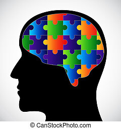 hersenen, silhouette
