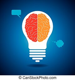 hersenen, silhouette, idee