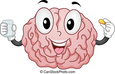 hersenen, toevoegsel, mascotte