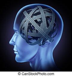 hersenen, verward, menselijk, onzeker