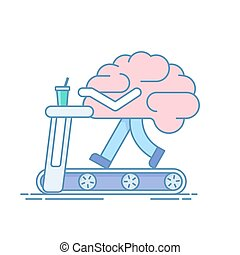 hersenen, workout., de, concept, van, hersenen, activity., opleiding, of, sporten activiteiten, op, de, tredmolen, ., vector, illustratie, in, een, lineair, stijl, vrijstaand, op wit, achtergrond.