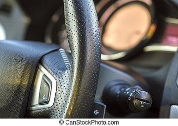 herskabelig, automobilen, interior., instrumentbræt, og, styre hjul, ind, sort, gråne, color., transport, konstruktion, moderne teknologi, concept.ultiple, values)