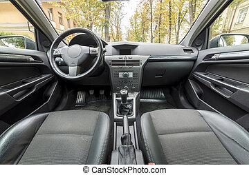 herskabelig, automobilen, interior., instrumentbræt, styre hjul, gearshift, og, bekvem, seats., transport, konstruktion, moderne teknologi, concept.