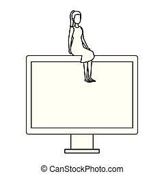 herskabelig, businesswoman, computer, fremvisning, siddende