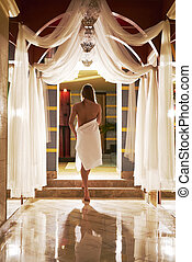 herskabelig, interior, sexet, blonde, poser, sauna