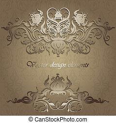 herskabelig, mønstre, på, en, seamless, baggrund