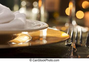 herskabelig, middag sætte