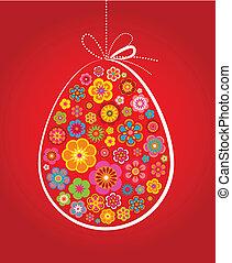 herskabelig, påske ægg, rød