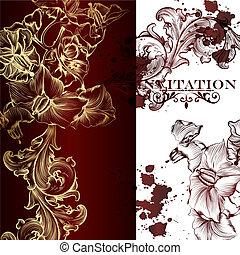 herskabelig, vektor, invitation, card