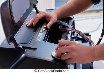 hersteller, herstelling, kapot, kleurenprinter