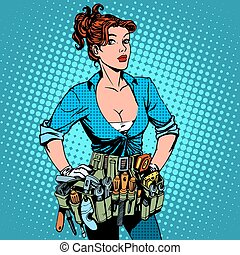 hersteller, vrouw, elektromonteur, werkende