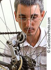 herstelling, bedreven, fiets, dienst