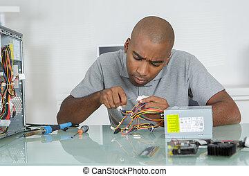 herstelling, computer, man