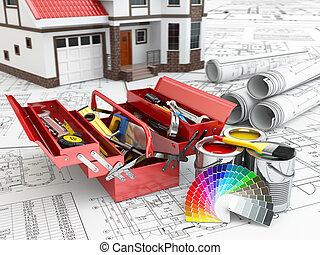 herstelling, concept., house., toolbox, verf , bouwsector, blikjes