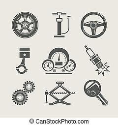 herstelling, deel, set, pictogram, auto
