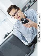 herstelling, digitale , enkele lens reactie, fototoestel