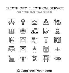 herstelling, elektromonteur, woning, energie, lamp, uitrusting, techniek, tekens & borden, draad, perfect, elektriciteit, gescheurd, elektrisch, pixel, plat, contactdoos, macht, meter, multimeter, icons., diensten, lijn, illustration., vector, 64x64