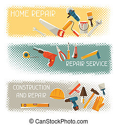 herstelling, en, bouwsector, horizontale banners, met, gereedschap, icons.