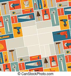 herstelling, en, bouwsector, illustratie, met, werkende , gereedschap, icons.